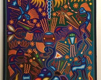 "Huichol Yarn Art - 24"" x 24"" Wall Hanging by Fidencio Benitez Rivera"