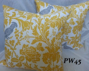 Yellow Decorative Euro Sham Pillow Cover / Throw Pillow Cover / All Sizes Available / Home Decor Designer Fabric /Both Sides