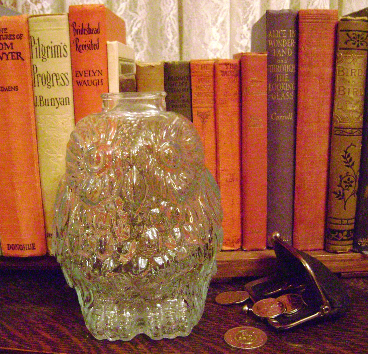 Owl coin bank clear glass with a hint of turquoise wise old - Wise old owl glass bank ...
