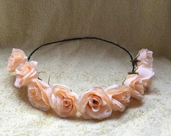 peach  floral crown, flower crown, floral headband, floral headpiece