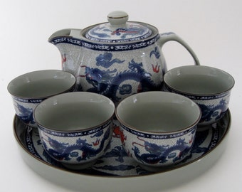 Dragon Motif Tea Set for 4