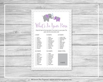Elephant Baby Shower What's In Your Purse Game - Printable Baby Shower What's In Your Purse Game - Purple Gray Elephant Baby Shower - SP116