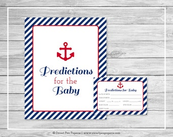 Nautical Baby Shower Predictions for Baby - Printable Baby Shower Predictions for Baby - Navy Red Baby Shower - Baby Predictions - SP118