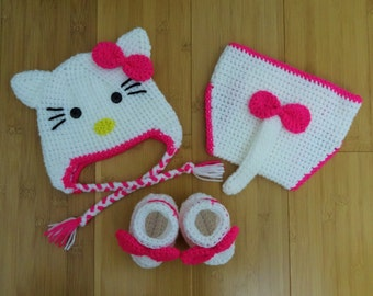 Crochet Hello Kitty baby set