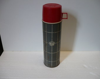 Gray Grid Pattern Thermos Bottle *DECOR ONLY*