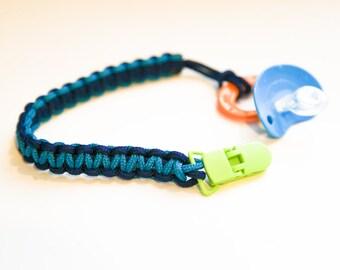 Multi colored pacifier clip
