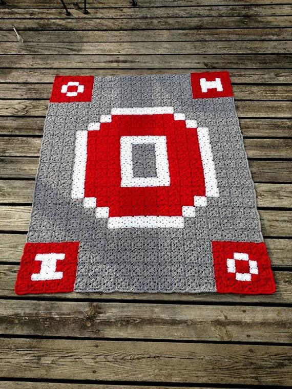 State Customizable Ohio Blanket Handmade Crochet Block O