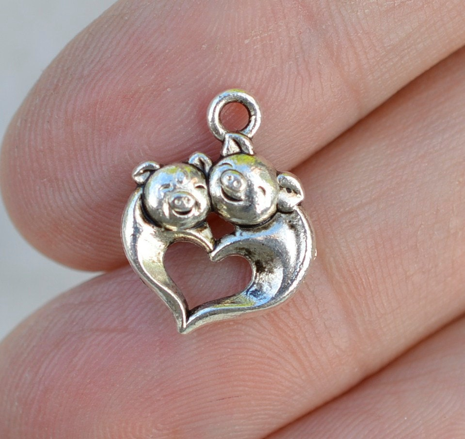 Pig Charm Bracelet: Pig Charms, Silver Pigs, 50 Pieces, Antique Silver Charms