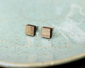 Square Wood Studs, Geometric Earrings, Gray Stud Earrings, Simple Earrings, Hipster Earrings