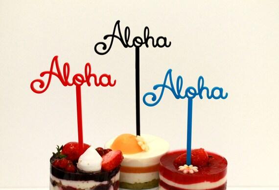 Aloha Cake Topper Food picks Hawaiian Wedding Tropical Custom cupcake Table centerpiece Party picks Beach Decor Aloha Hawaiian Party decor