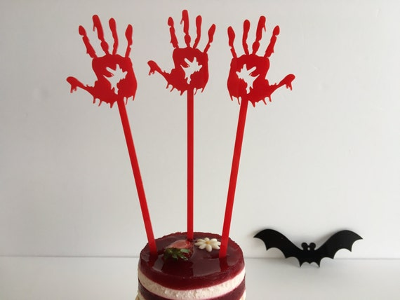 Zombie hands Spooky decor Halloween skeleton Happy Halloween Cake toppers Red hands Halloween decoration Halloween party Witch silhouette
