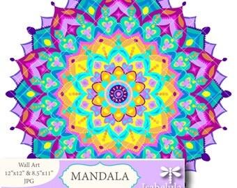 MANDALA Print - Bright Colors. Downloadable Illustration Printable Wall Art - Downloadable Colorful Print, Digital Art