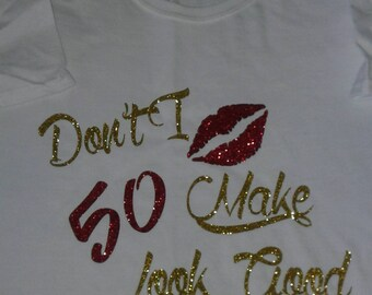 50th Birthday Bling Etsy Rhinestone Tshirt