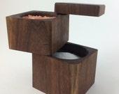 Handmade Reclaimed Walnut Double Decker Salt Cellar