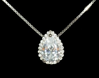 Teardrop Cubic Zirconia Pendant, Sterling Silver Pendant, Bridal Pendant, Wedding Pendant,  Teardrop Pendant, Crystal Pendant