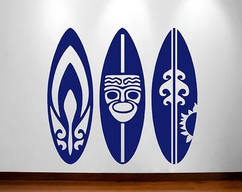 Surfboards Set of 3 Navy Wall Decal