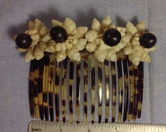"""Hair comb celluloid with sea shells vintage 4"""""""