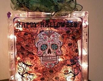 Halloween glass block light