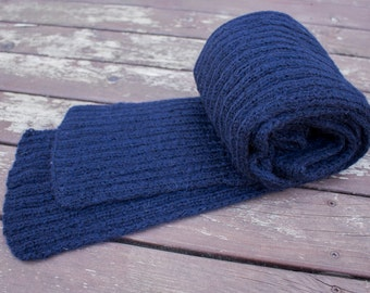 Handknitted Scarf, Winter Accessories, Handknit Dark Blue Acrylic scarf, Extra long Scarf, Handmade Black-blue scarf