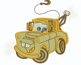 Tow Truck, machine embroidery applique design, 1 size, 5x7 hoop, File INSTANT DOWNLOAD
