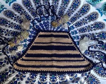 Navy Stripe Crochet 'Basic' Crop Top.