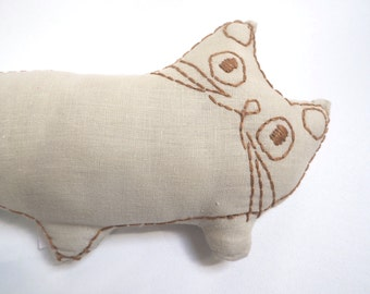 long linen cat/soft toy/ coach cushion /designer cat