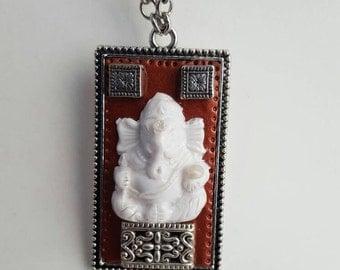 Ganesha necklace, Rectangle pendant, Yoga jewelry
