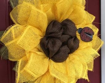 Wreath, Sunflower Wreath, Flower Wreath, Spring Wreath, Summer Wreath, Fall Wreath, Ladybug, Front Door Wreath, Wall Wreath