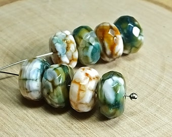 Green, White and Brown Agate Rondelles, Eight Beads