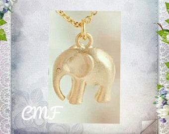 Elephant Necklace Gold Necklace Elephant Pendant