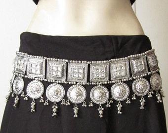 Womens Belt | Kuchi Belt with ties | Oxidized Silver | Beaded Belt | Tribal Fusion Belly dance Belt | Bellydance Gypsy Boho Hippie  Belt 500