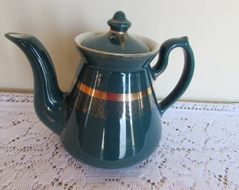Hall Teapot #080X Green w Gold Trim 3 cup capacity