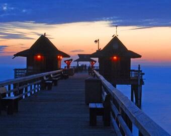 "Florida sunset, Gulf Coast sunset, Naples, FL. fishing pier, Florida scenic photos, for nature lovers  Title: ""At Last Light"""