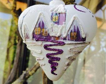 Handblown Glass Wedding Church Ornament, Purple Heart Designer Ornament