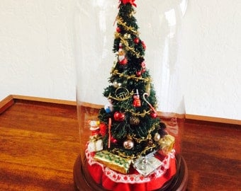 Bottle Brush Christmas Tree Cloche, Christmas Dome, Tree Under Glass, Dome Display