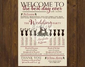 Winter Wedding Program, Christmas Wedding Program, Forest Wedding Program, Deer Wedding Program, Rustic Winter Program, Wedding Program