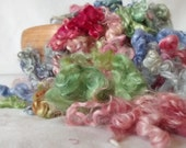 Kid mohair locks hand dyed in rose pink, lilac and green for dolls hair, spinning, felting, textile crafts