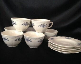 Sheffield Blue Dresden lot of 7 teacups,Blue Dresden teacups and Saucers