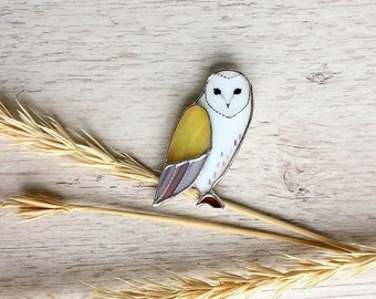 Cute Owl Brooch, Glass Jewelry, Tiffany Technique, Yellow and White Screech-owl, Best Gift for Her