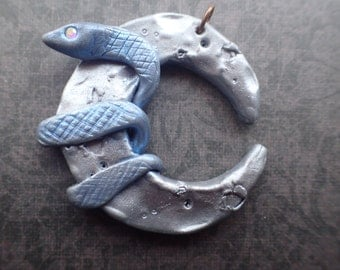 Serpent Moon: Polymer Clay Necklace with Mica Powder