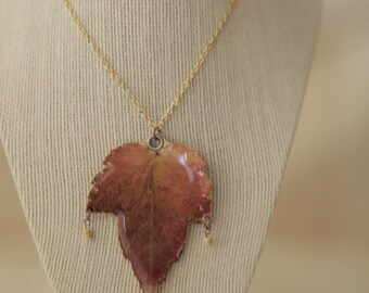 Plant 6- Pressed Autumn Maple Leaf Necklace