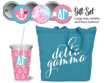 DG Delta Gamma Sorority Gift Set Includes Tote, Tumbler and Buttons