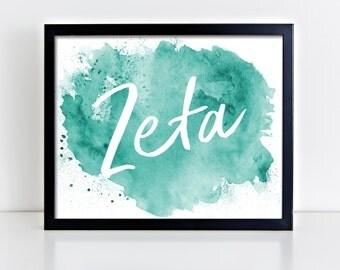 ZTA Zeta Tau Alpha Watercolor Script Ready To Frame Poster