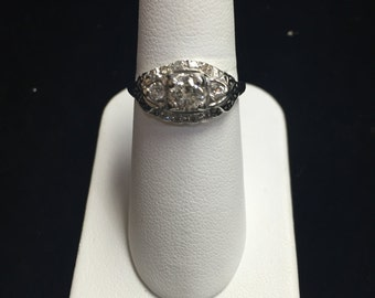 Vintage 14k White Gold .75ct Engagement Ring