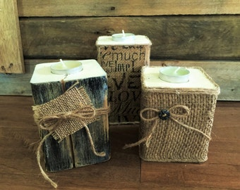 Rustic wood for tealight candle holders