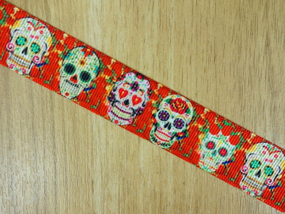 7 8 red sugar skull the day of the dead printed grosgrain for Day of the dead craft supplies
