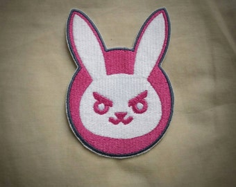 Sew-on patch - Overwatch D.Va suit logo inspired embroidery -  10 cm / 4 in - costume and cosplay prop