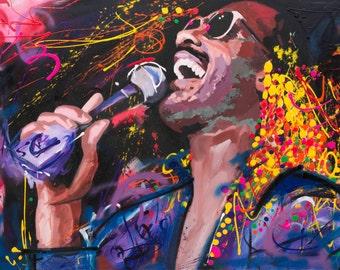 "Stevie Wonder Original Painting, 60"", Worldwide Shipping, Art, Music, Graffiti, Richard Day"
