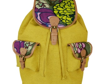 Amryk Vintage Yellow Canvas Backpack
