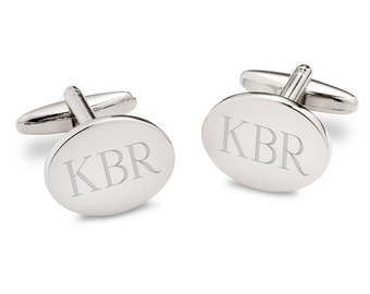 Engraved Mens Cufflinks - Personalized Modern Oval Cuff Links